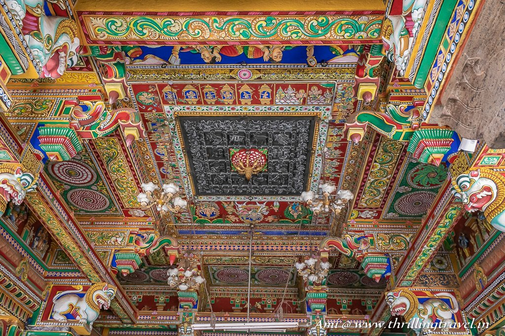 Karaikudi Sightseeing is not complete if you have not visited one of the Chettinad Temples. This is the ceiling of Kundrakudi Temple