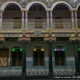 Belgian glass windows, Burma teak wood pillars and murals in Athangudi Palace