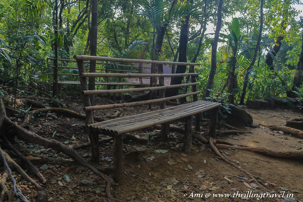 Bamboo benches to enjoy the quiet corners of Mawlynnong in Meghalaya