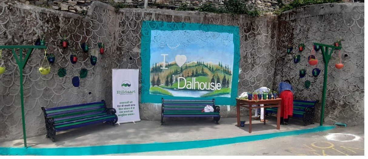 Pretty corners with recycled benches created in Dalhousie through the Nestle Hilldaari initiative