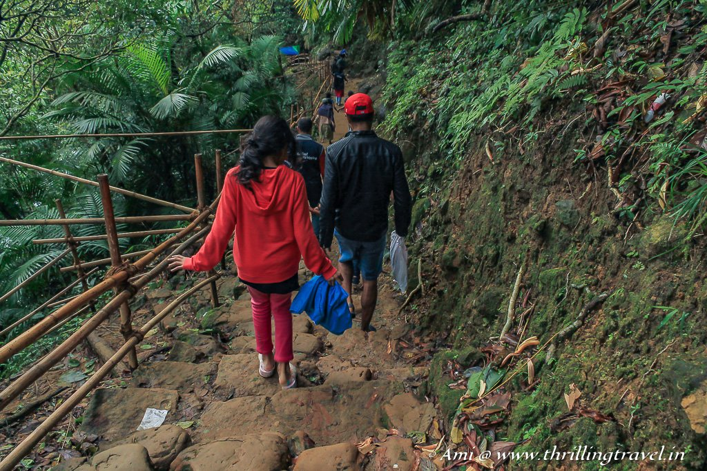 Hiking down to the Mawlynnong Living Root Bridge
