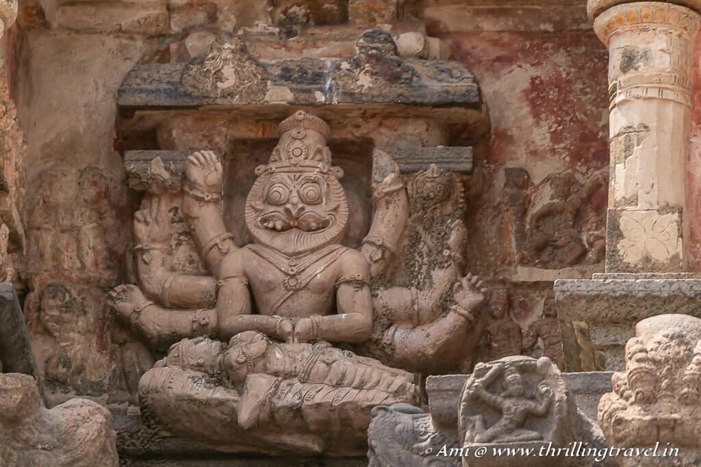 Narasimha depicted on the vimana of the Darasuram temple