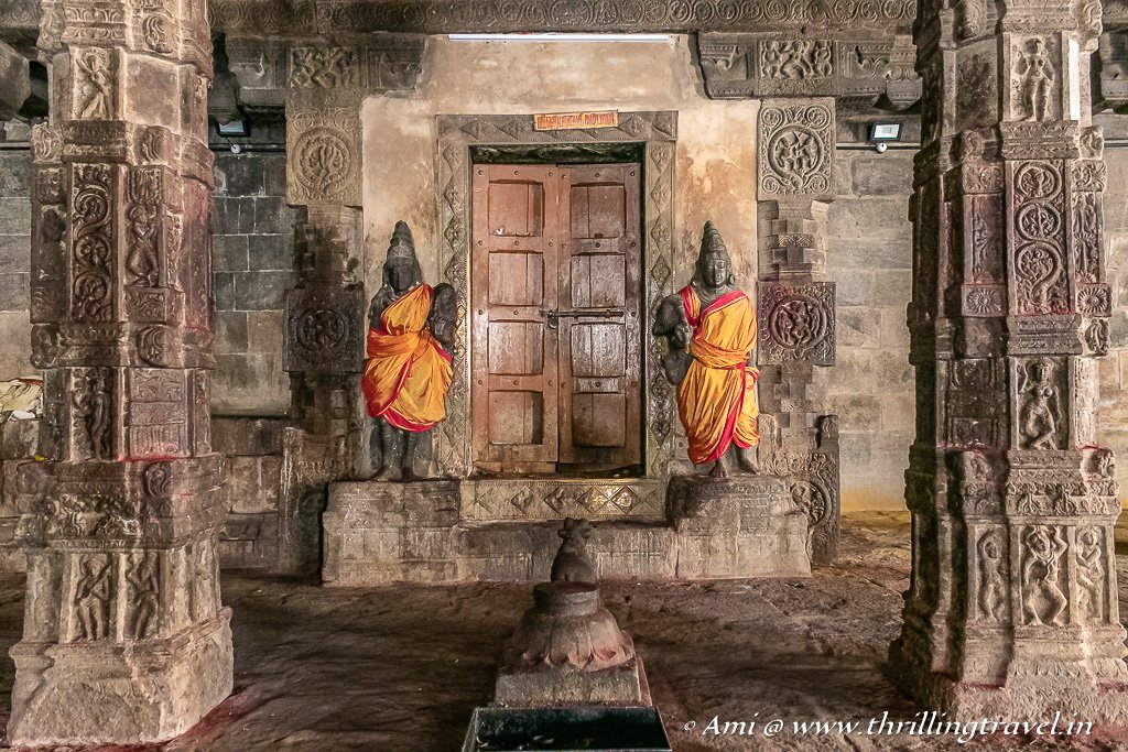 The entrance to the inner sanctum and Ardhamandapam as guarded by the Dwarapalas