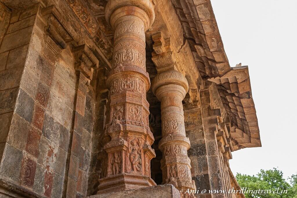 Carved pillars of the Rajagopuram