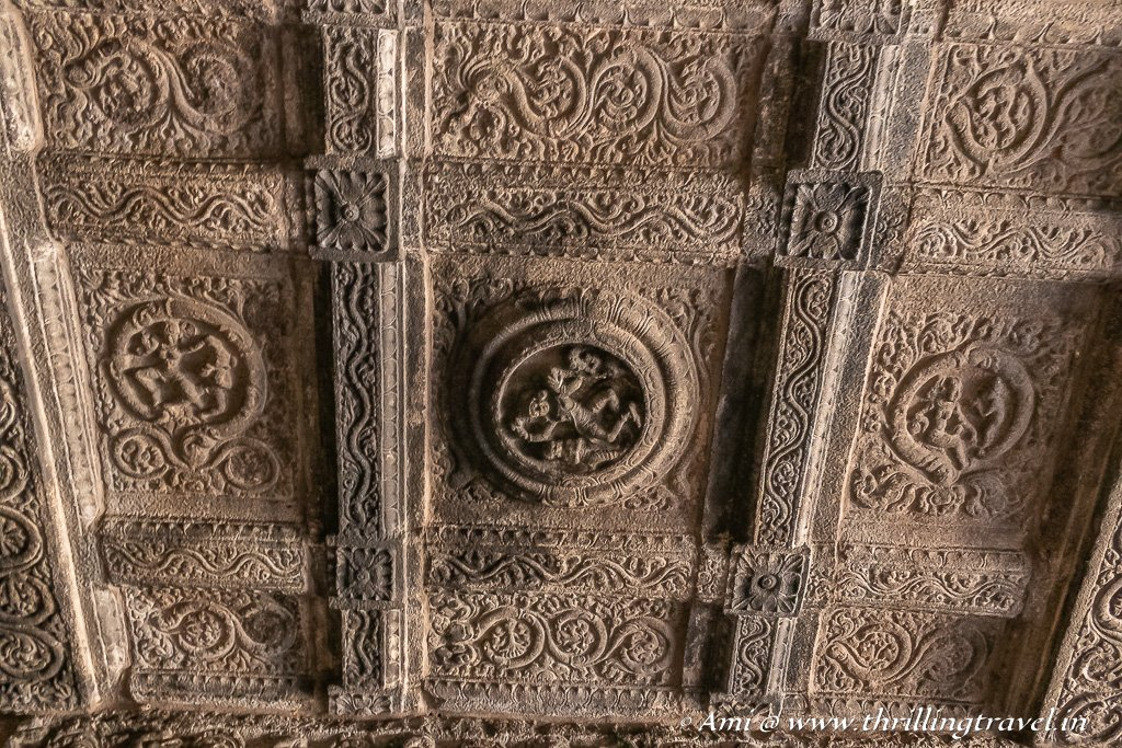 Check out the dancer in the center and the mermaid on the side in this carved ceiling