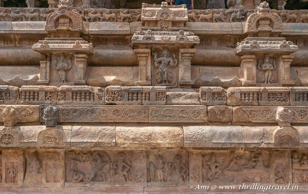 The miniature carvings along the base of the Rajagambhiram Thirumandapam