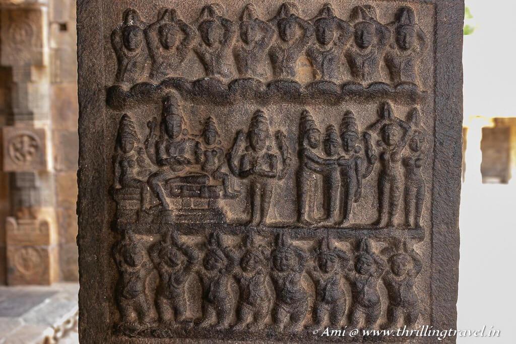 The Shiva-Parvati wedding carved on the pillar