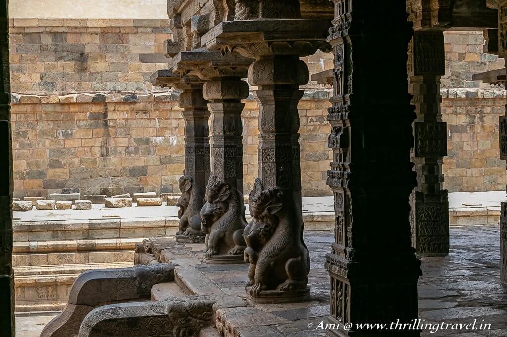 Yalli pillars of the Mukhamandapam