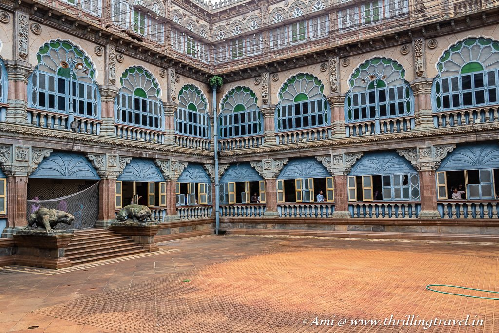 The fusion of architecture of Mysore Palace as seen in the Wrestling Courtyard