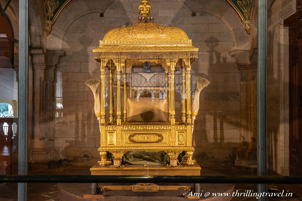 Golden Howdah kept in the Gombe Thotti section of the Mysuru Palace