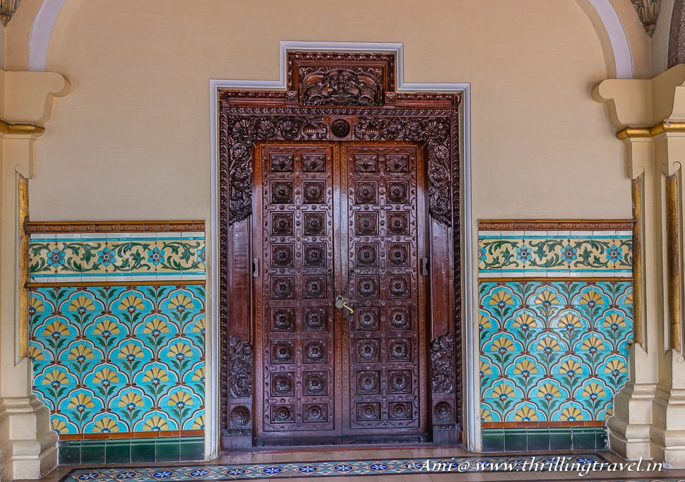 Colorful tiles and pretty doors of Mysore Palace