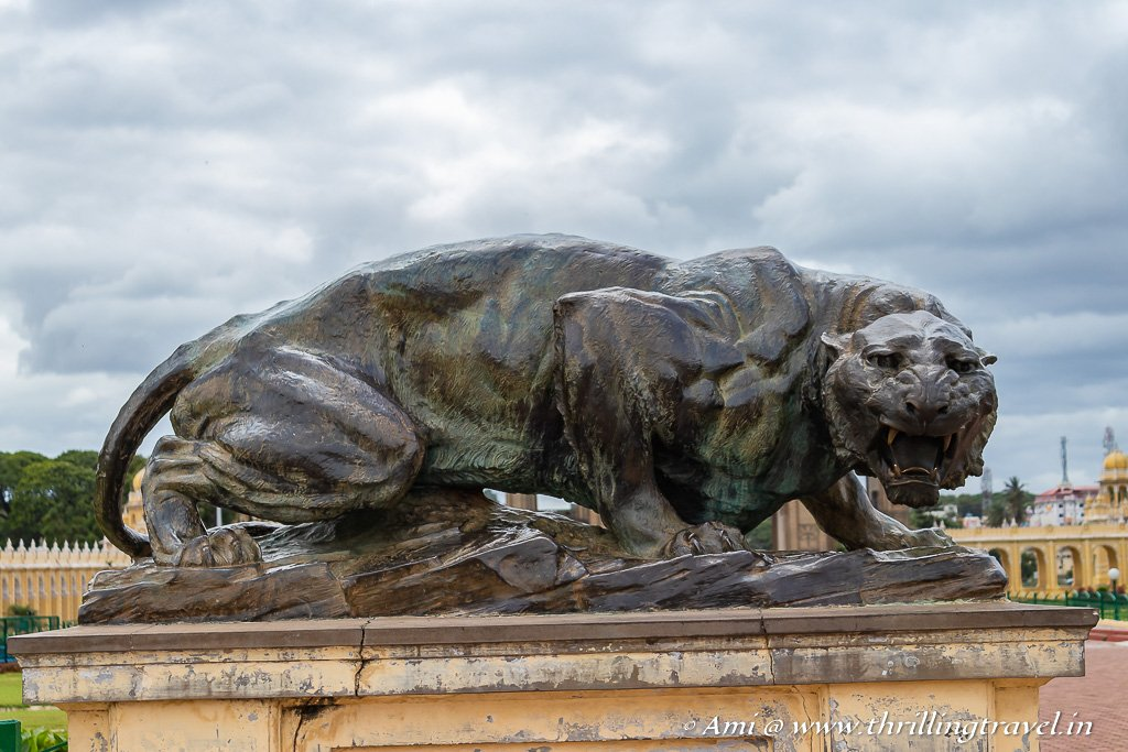 Bronze tigers in the Mysore Palace Complex