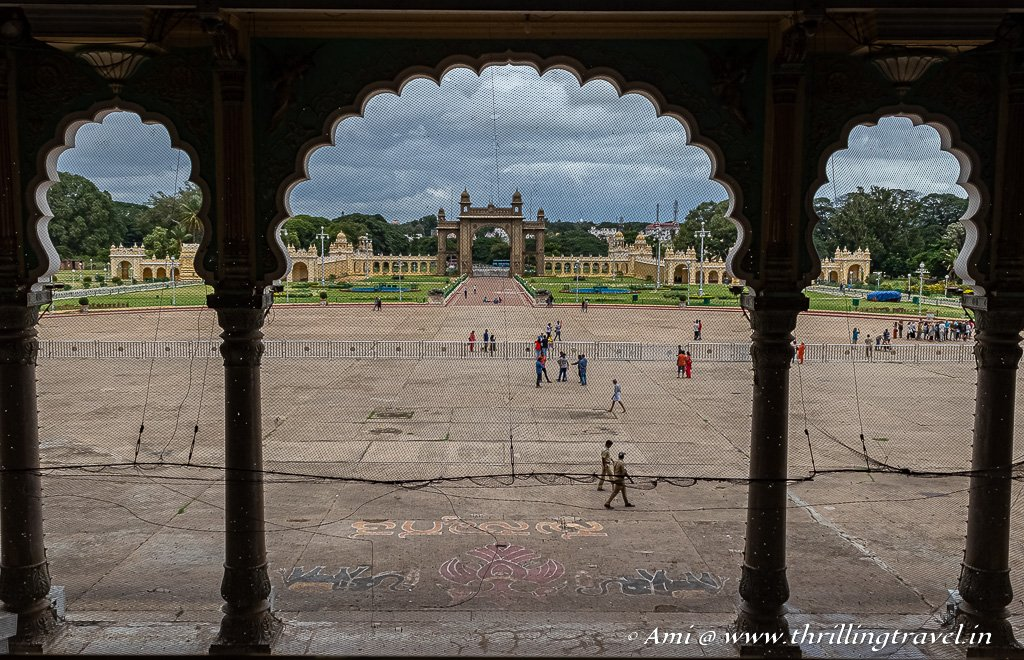 The grounds as seen from the Mysore Palace Public Durbar