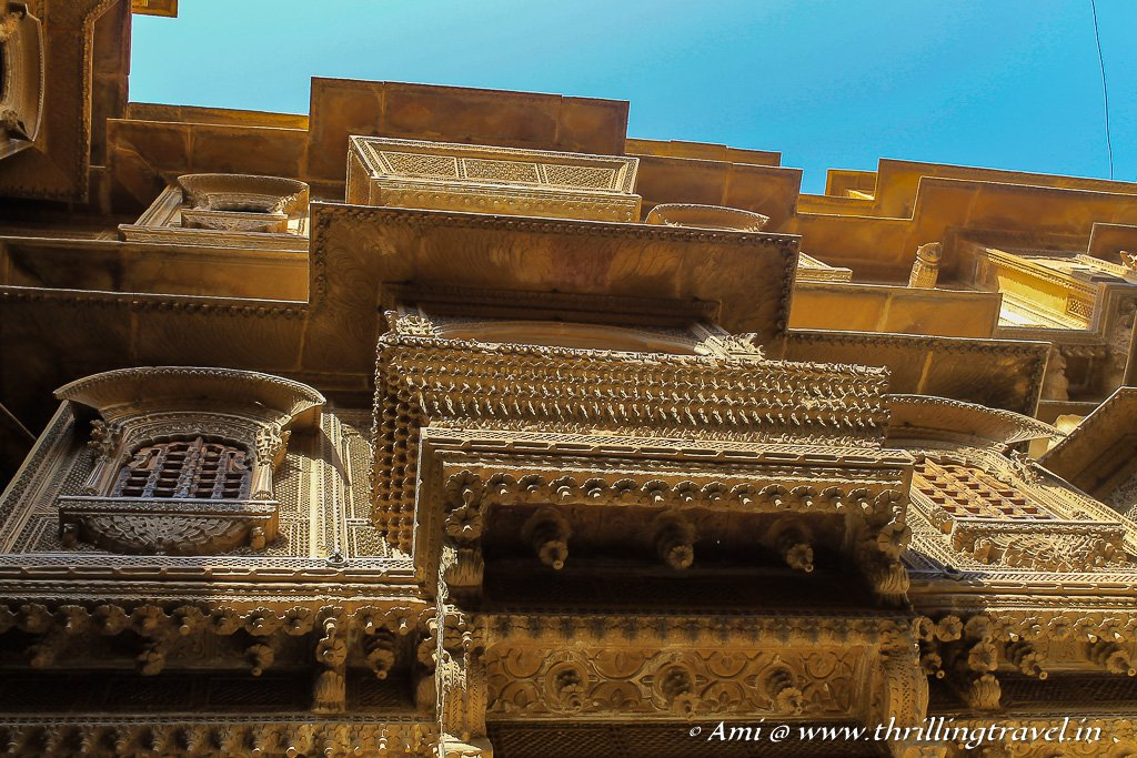 The artistic eaves and chajjas of the Jaisalmer haveli