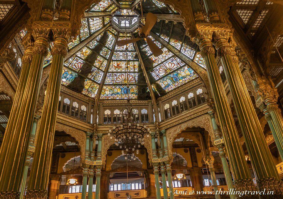 The mesmerizing ceiling of the Kalyana Mantapa of Mysore Palace