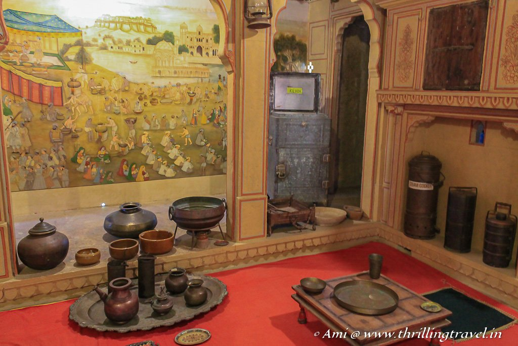 A typical Rajasthani Dining Room showcased at the Patwa ki Haveli