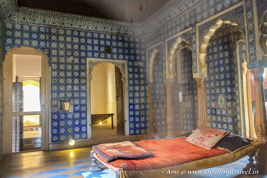 The royal bedroom preserved in Gaj Vilas