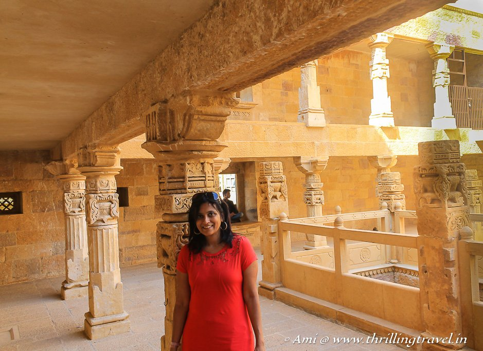 The carved pillars at the start of my tour of Jaisalmer fort palace