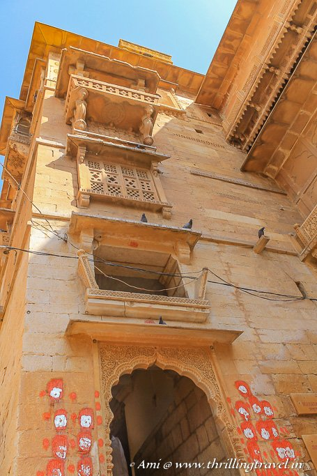 The saffron handprints of the ladies who committed Jauhar in Jaisalmer Fort