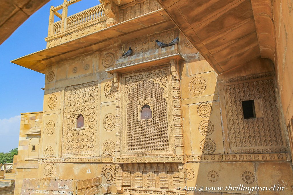 The artistic windows and jharokhas of the Jaisalmer Palace