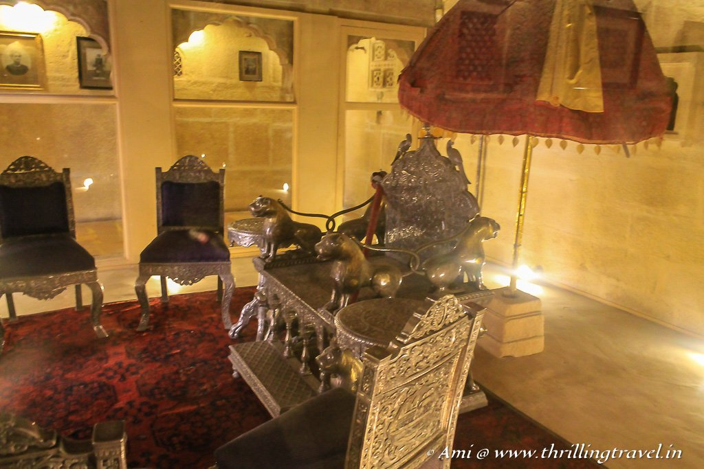 The silver throne kept in the Deewan Khana of the Raj Mahal of Jaisalmer Fort