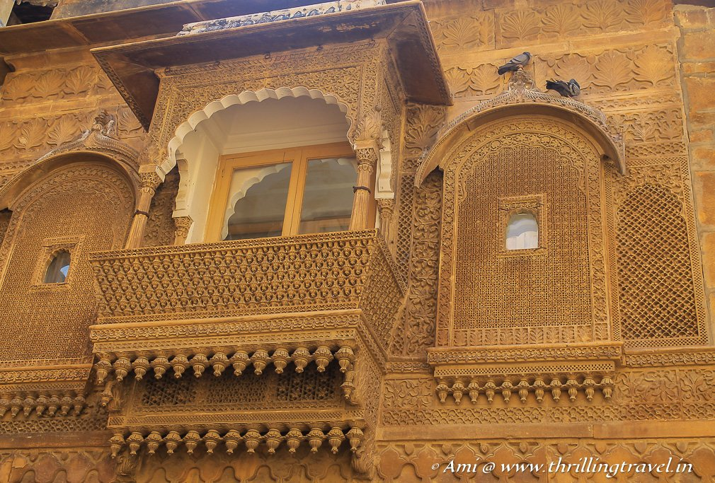 The intricate windows and carvings of the Jaisalmer Fort Palace