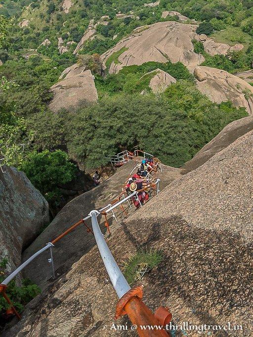 The last mile - steps cut into the boulders that form Ramanagara Ramadevara Betta