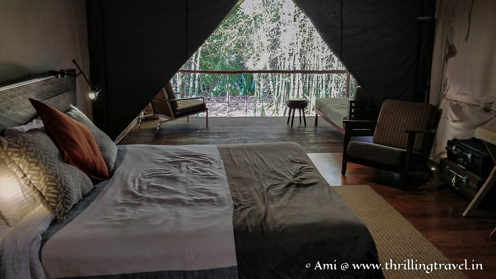 Inside one of the tents at the Kaav Safari Lodge