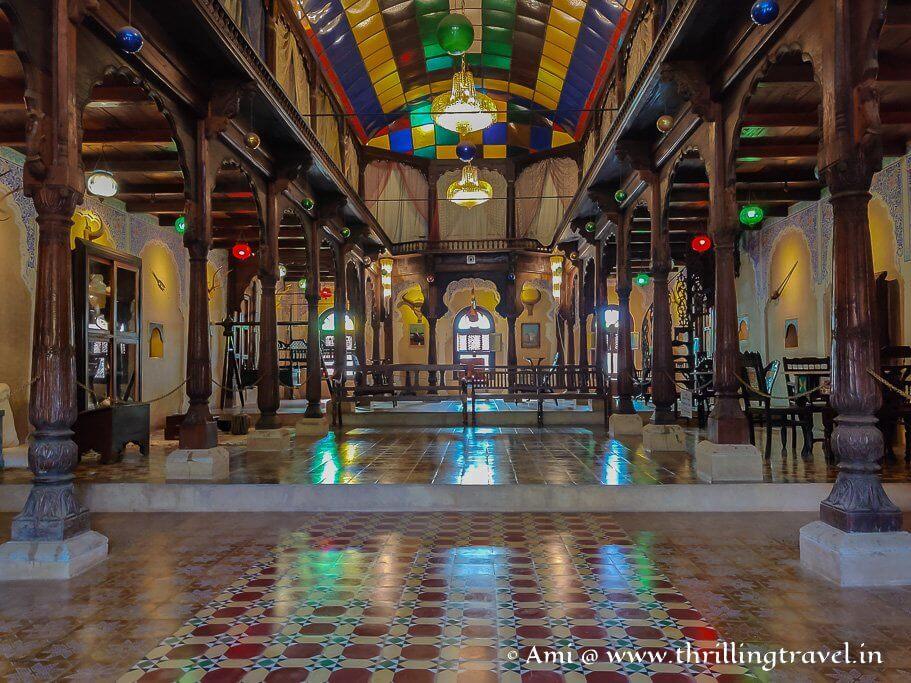 Inside the Deccani Nawab Palace at the Hasta Shilpa Heritage Village Manipal