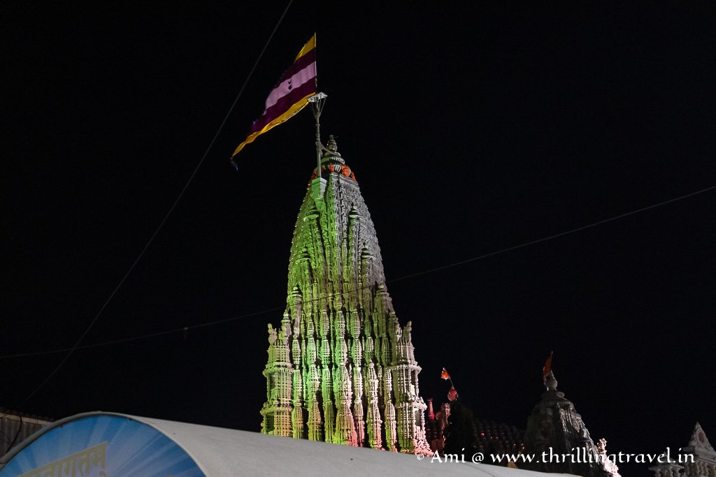 The Dwarka Krishna Temple as seen after the evening aarti