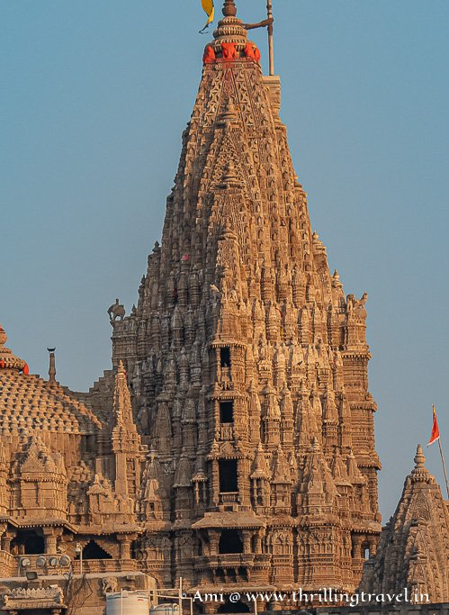 Close up of the main Shikhar of Dwarkadhish mandir that has seven floors