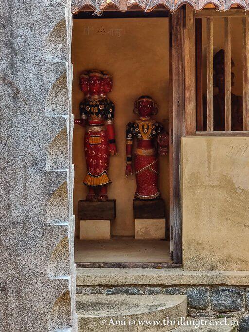 The idols inside the Garadi Mane of the Manipal Heritage Village