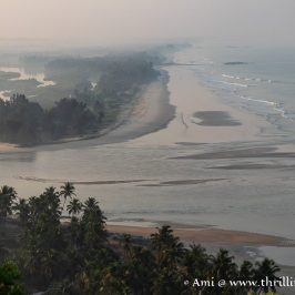 The confluence of Byndoor River and Arabian Sea as seen from Kshitija Nesara Dhama