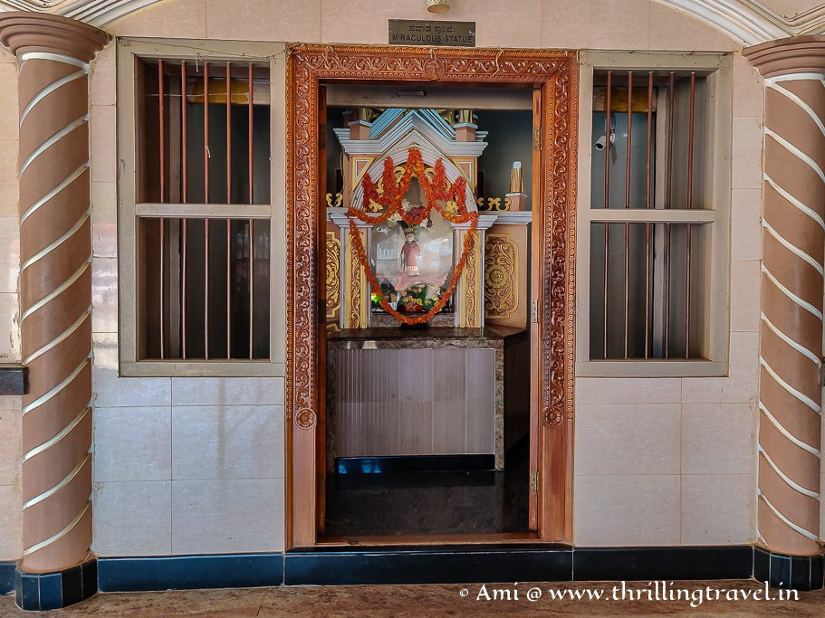 The Miraculous statue shrine at St. Lawrence Church Karkala