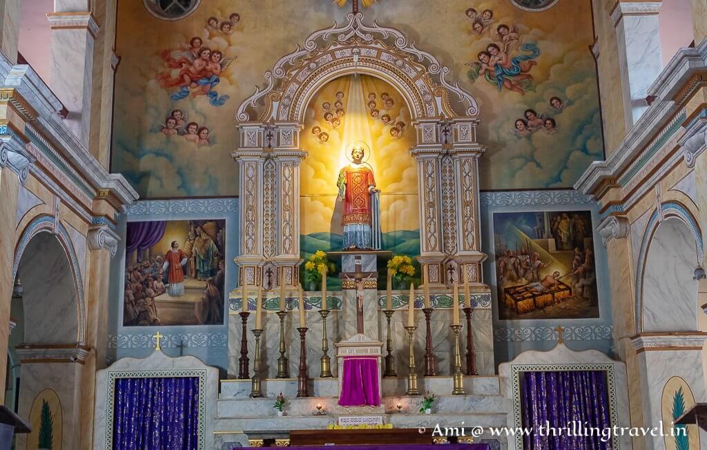 The main altar at the Karkala St. Lawrence Church