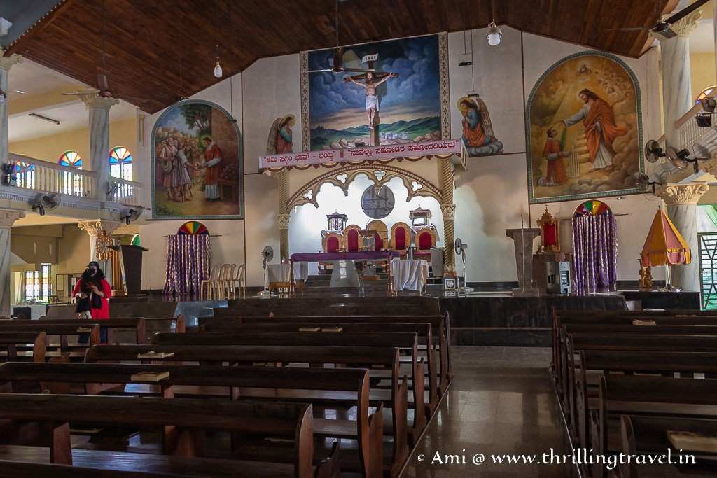 Interior of the new wing of St. Lawrence Attur church