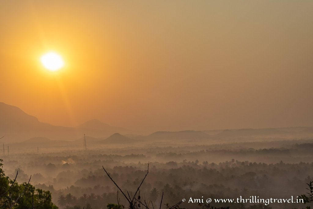 Sunrise over Byndoor as seen at Kshitja Nesara Dhama