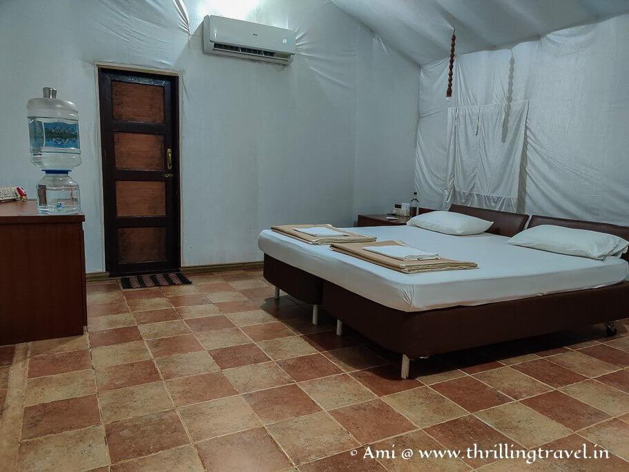 My tented cottage at Sai Vishram beach resort in Byndoor