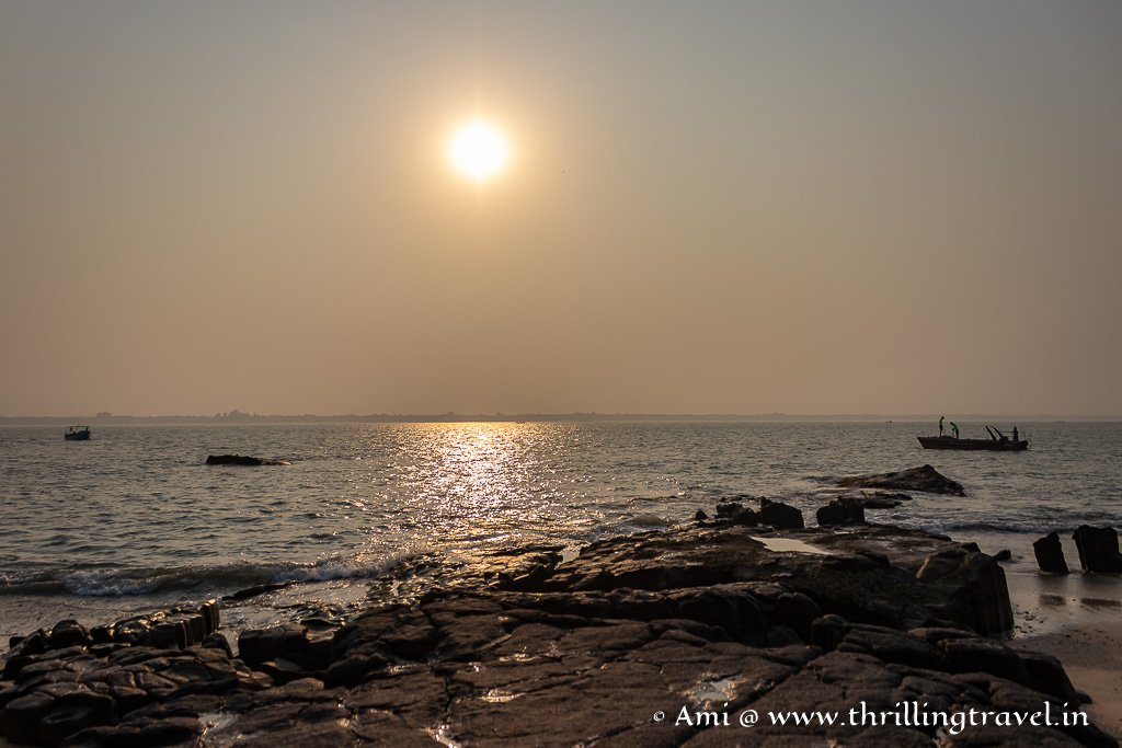 Sunrise over Arabian sea as seen from the Udupi island