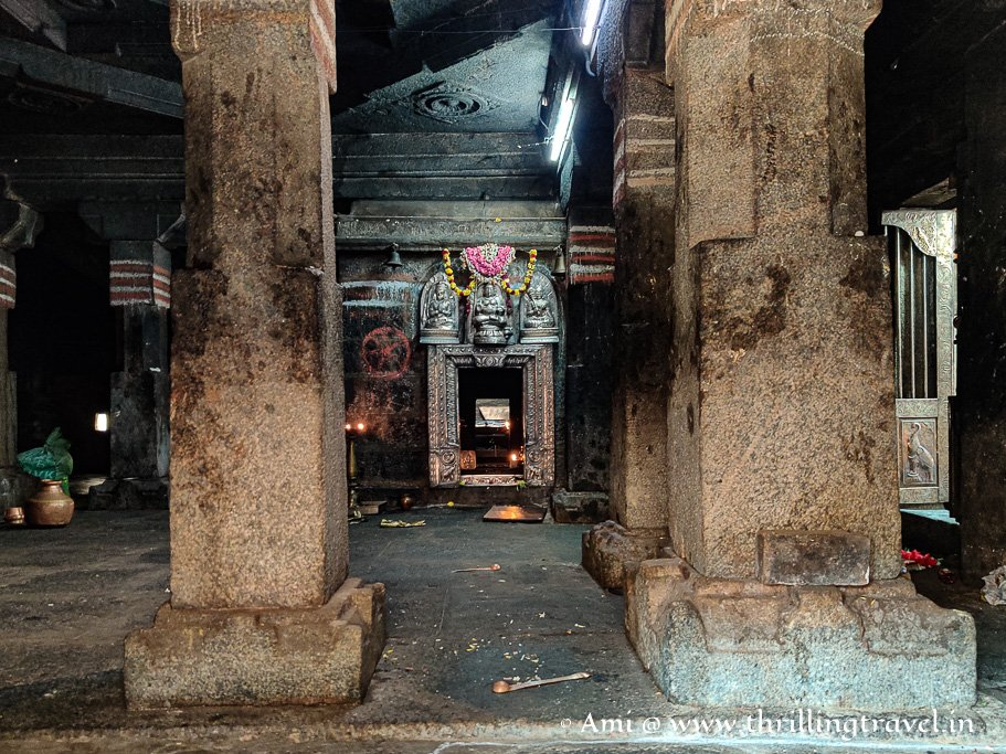 The shrine and the place in Ananteshwara temple where Madhvacharya disappeared
