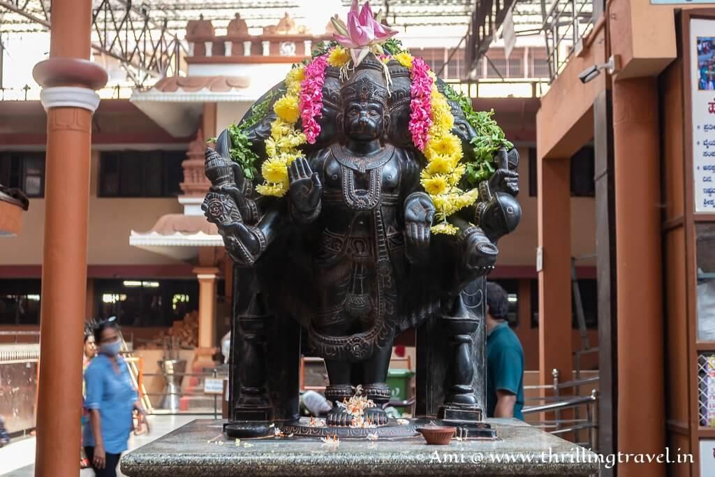 Statue of Lord Hanuman kept just outside the Chandrasala hall of Udupi Krishna temple