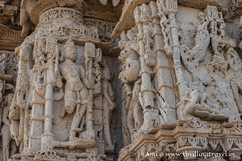 Close up of the Naratharas at the Rukmini Temple Dwarka