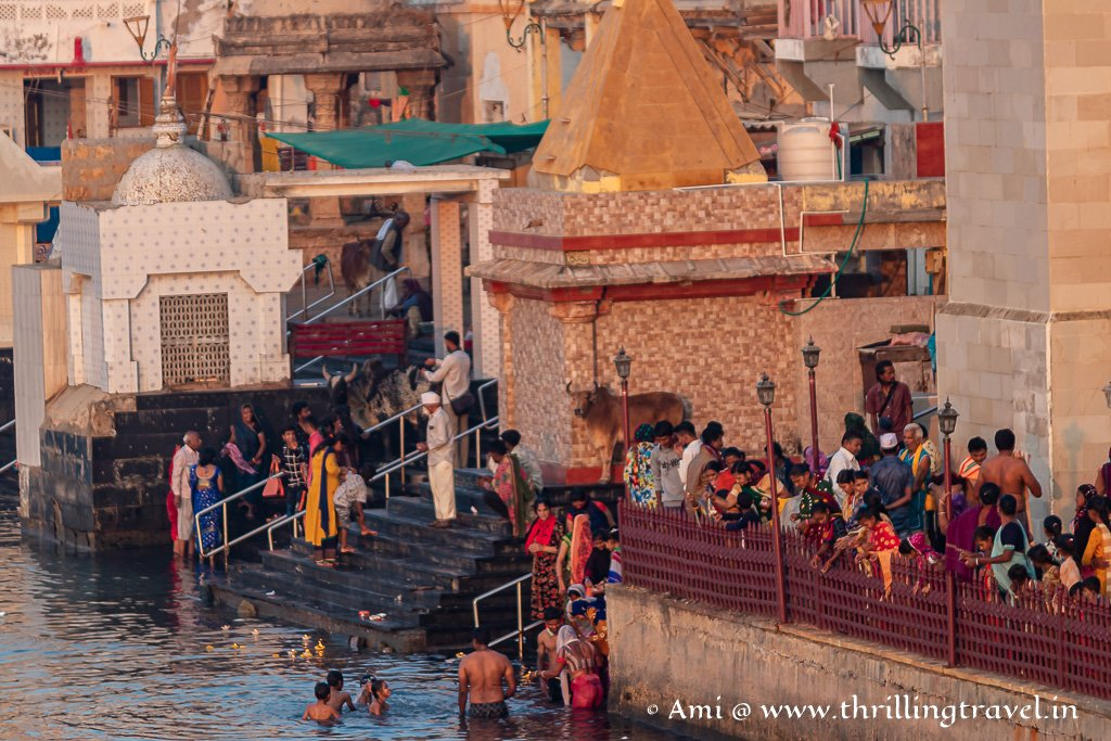 Morning rituals in practice at the Dwarka Gomti Ghat
