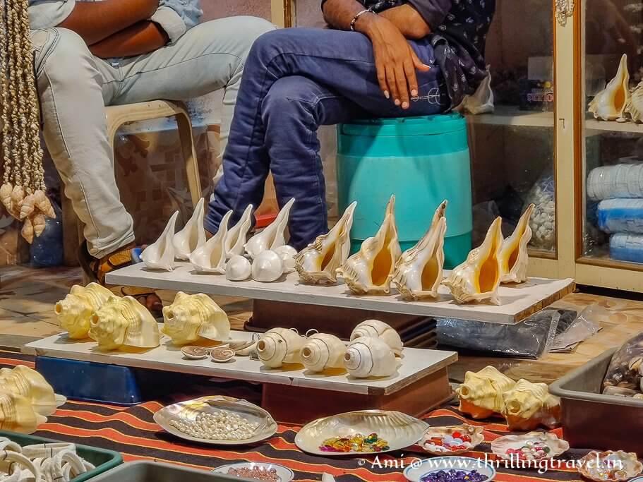 Shells for sale along Gomti Ghat in Dwarka