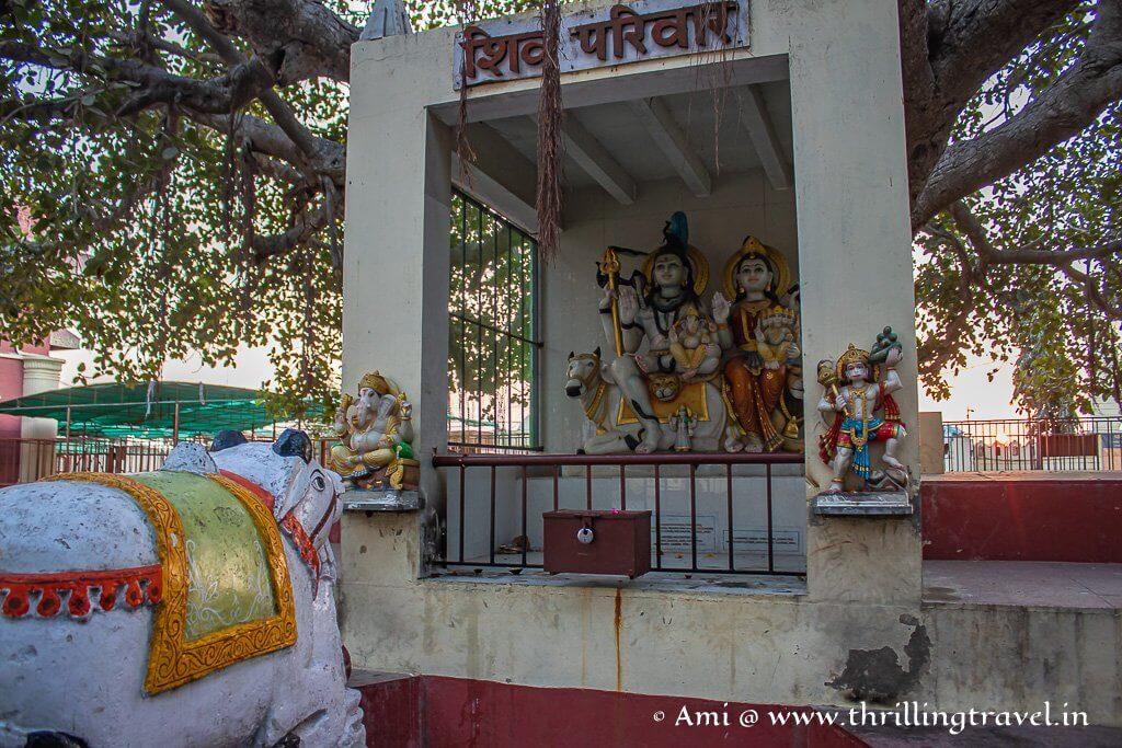 Idol of Shiva and his family kept in the premises of Nageshwar Jyotirlinga Temple Dwarka
