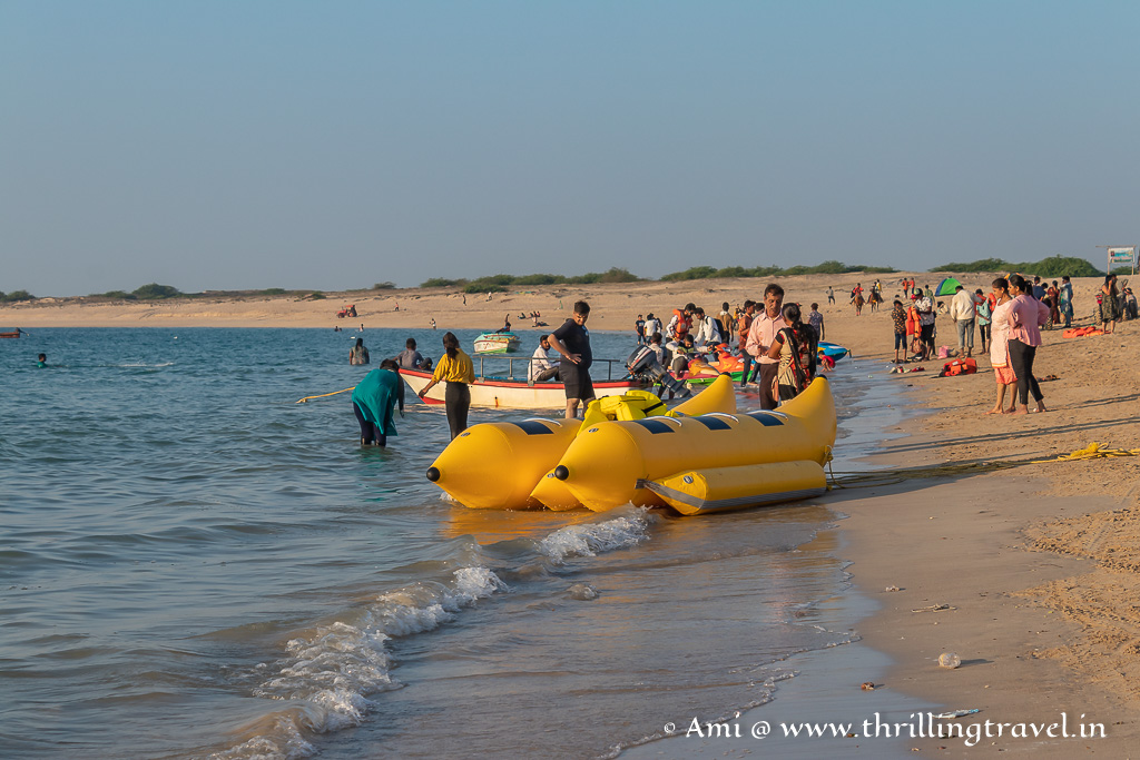 Banana boat rides and jet skis - some of the Shivrajpur beach activities
