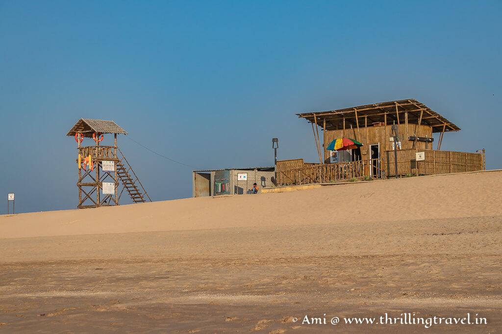 Lifeguard station on Shivrajpur beach in Dwarka