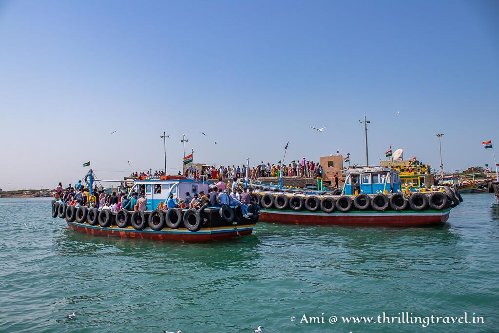 Okha jetty and the Bet Dwarka Ferries