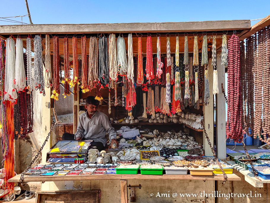 Shop selling pooja items and shells on Bet Dwarka