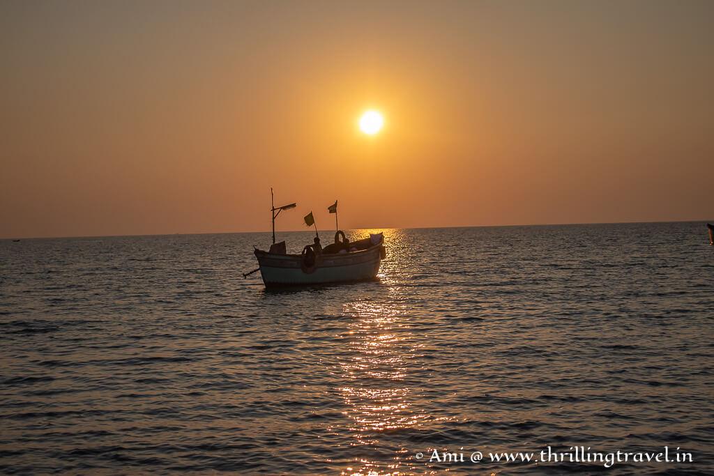 Sunset on Shivrajpur beach